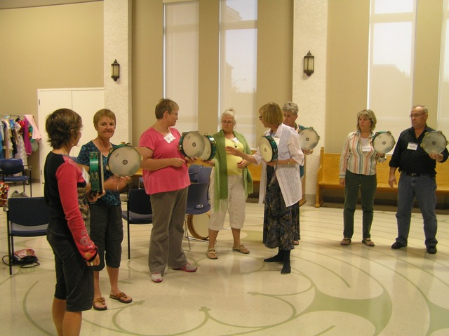 Learning to hold the drum in High River United Church