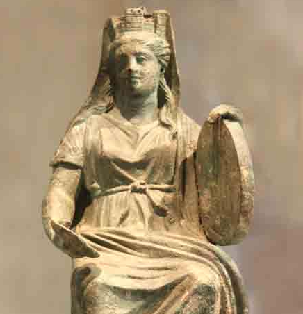 Goddess Cybele holding her sacred frame drum and her libation bowl