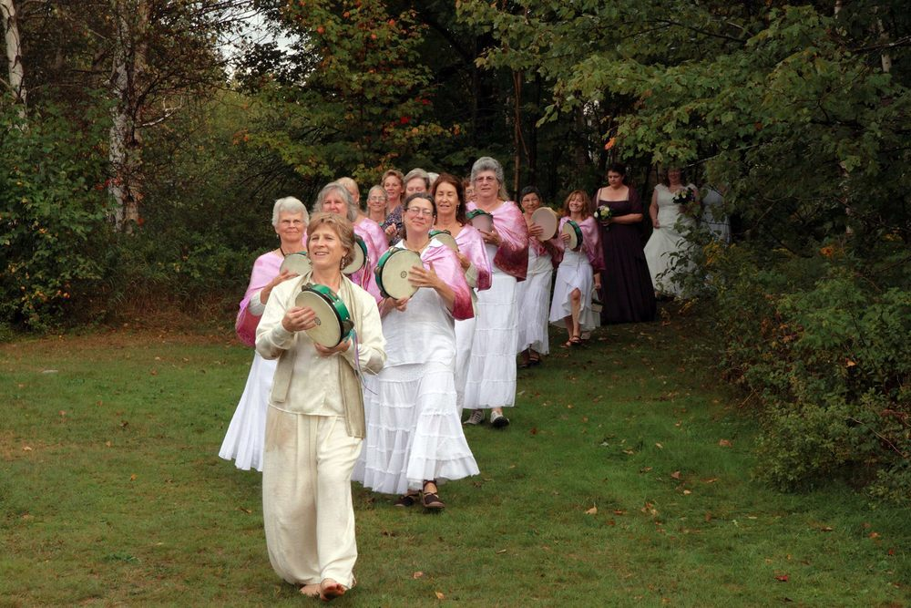 A joyous frame drum wedding procession in Maine, USA