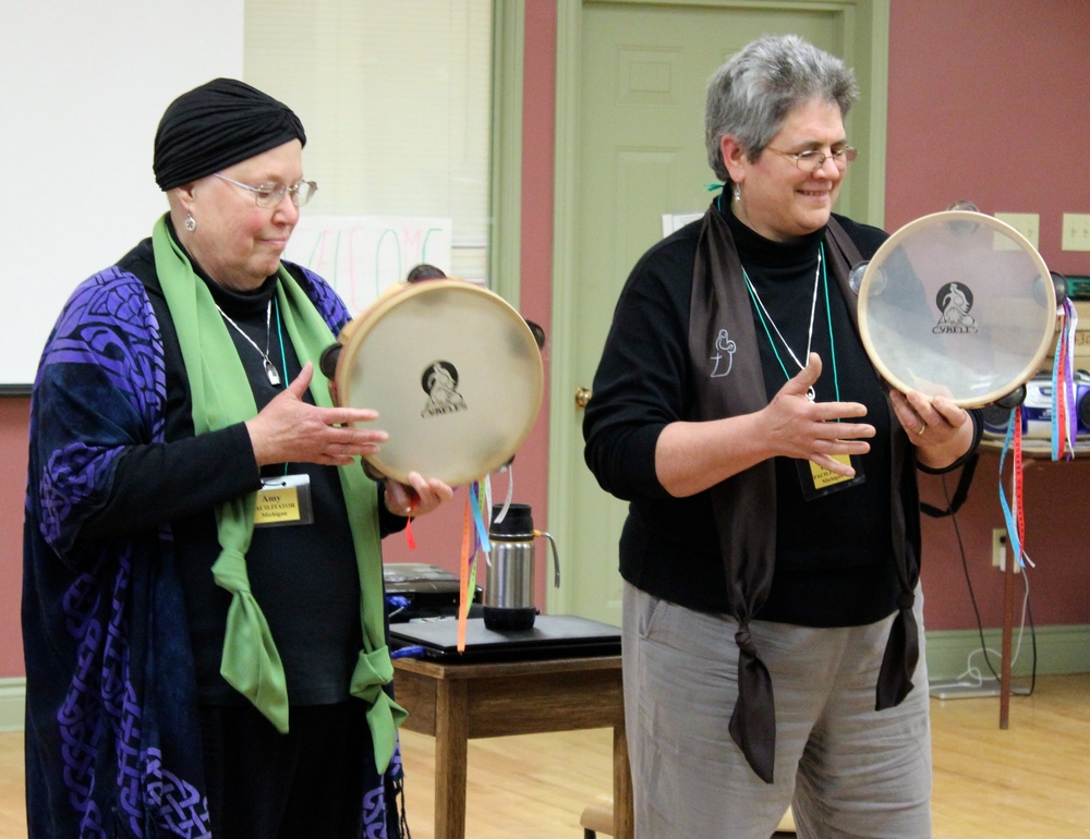 Amy and Barb facilitate Beginner tambourine workshop