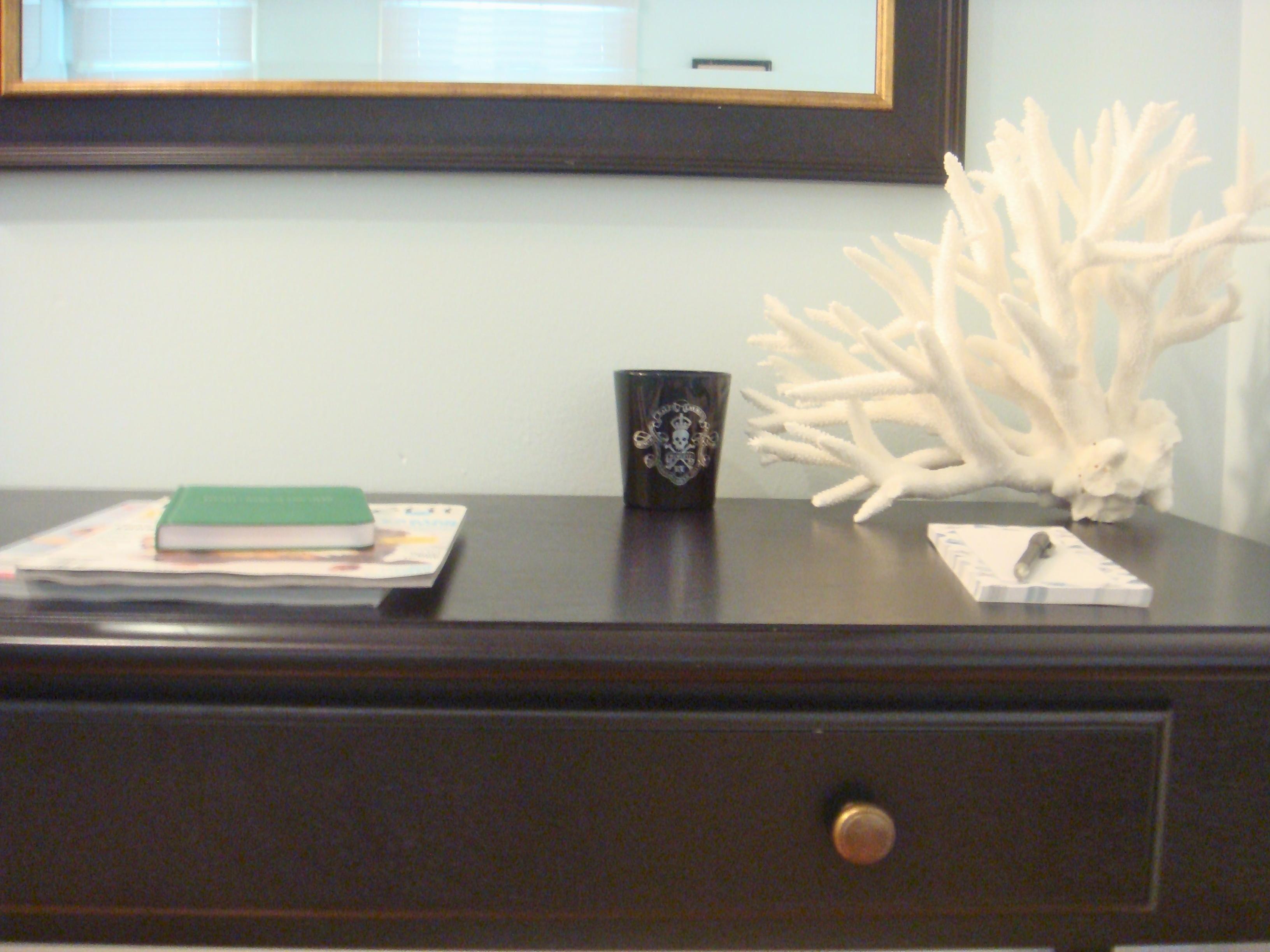 coral on desk