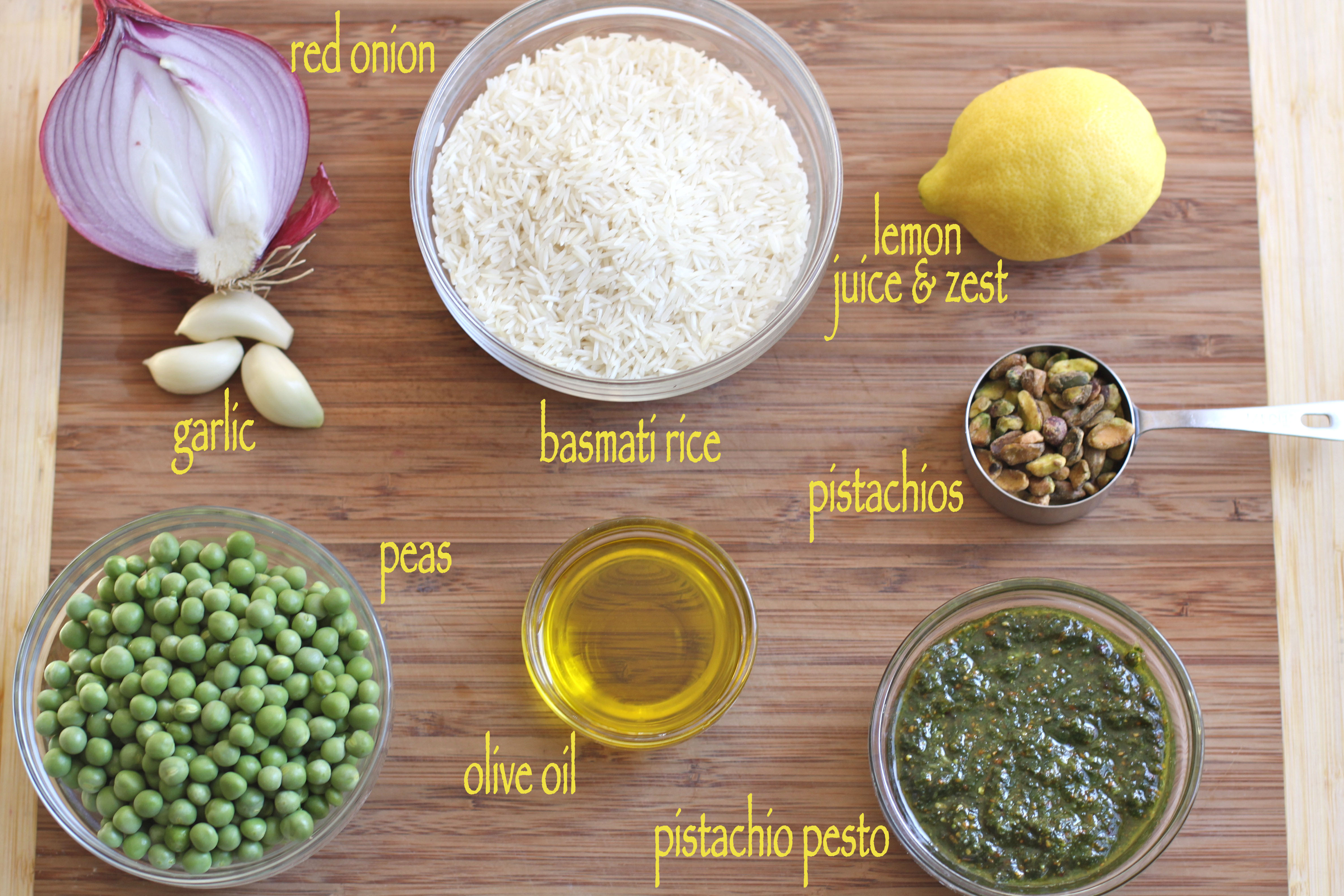 Basmati w/ Pistachio Pesto & Peas
