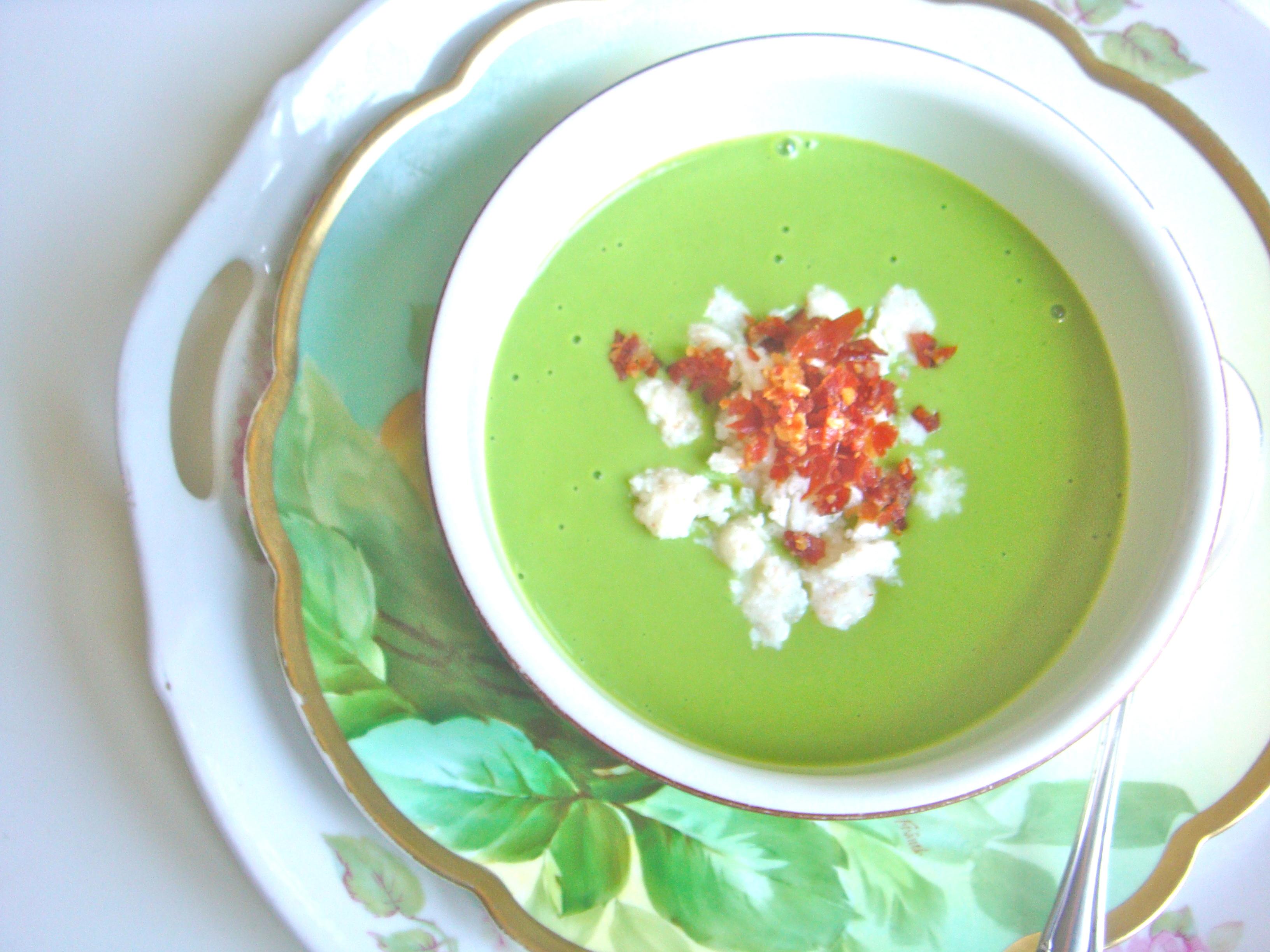 Chilled Pea Soup w/ Buttermilk Snow & Crispy Prosciutto — Chef Jamie ...