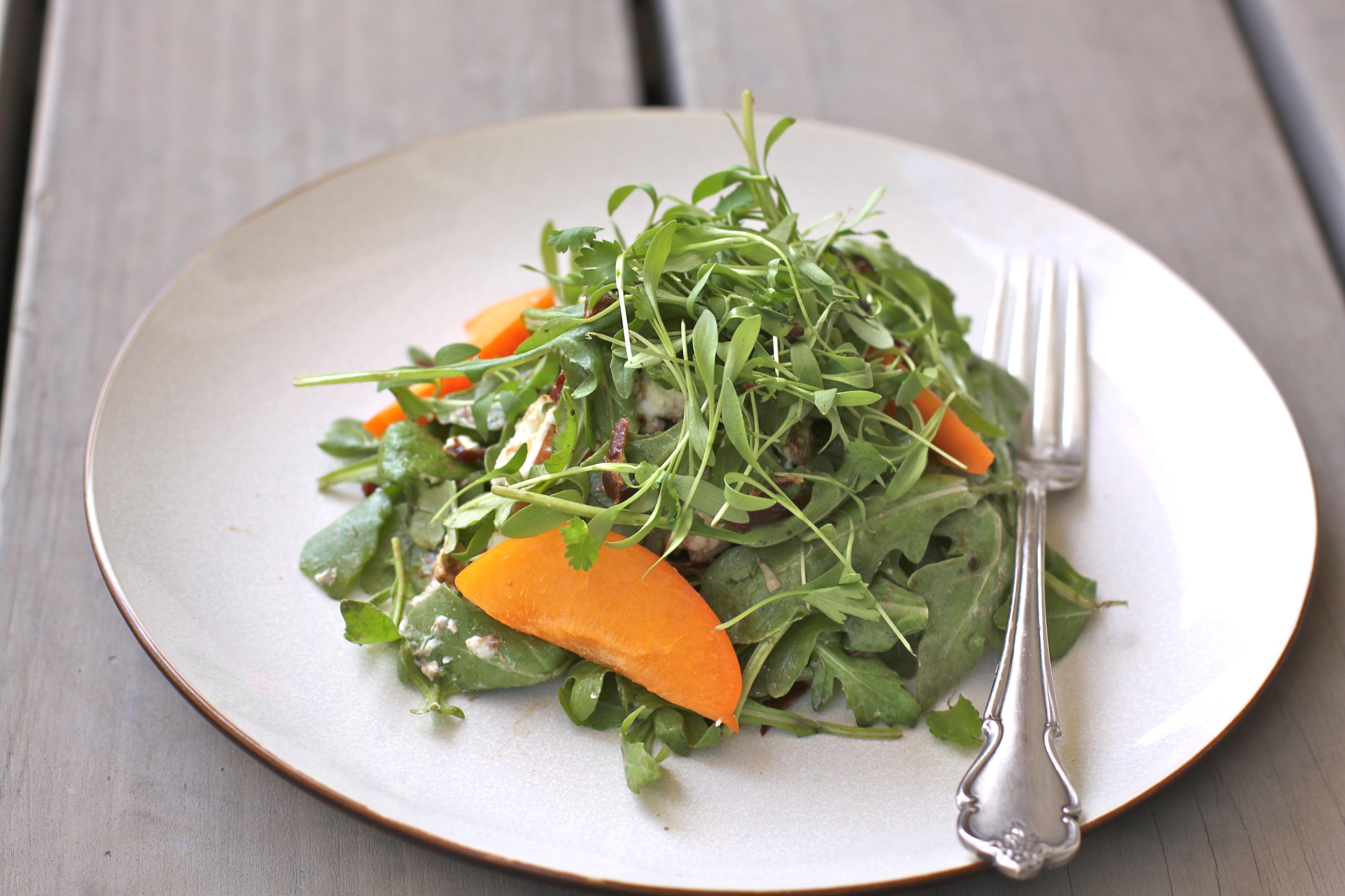 Arugula Salad w/ Apricots, Goat Cheese & Crispy Prosciutto
