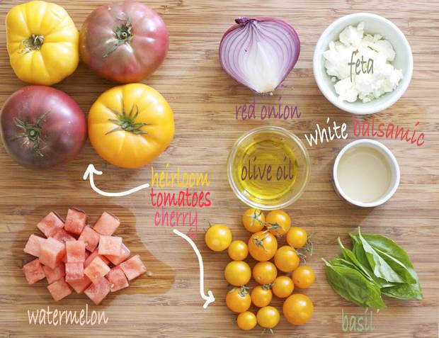 Heirloom Tomato Salad w/ Watermelon, Feta & Basil — Chef Jamie ...