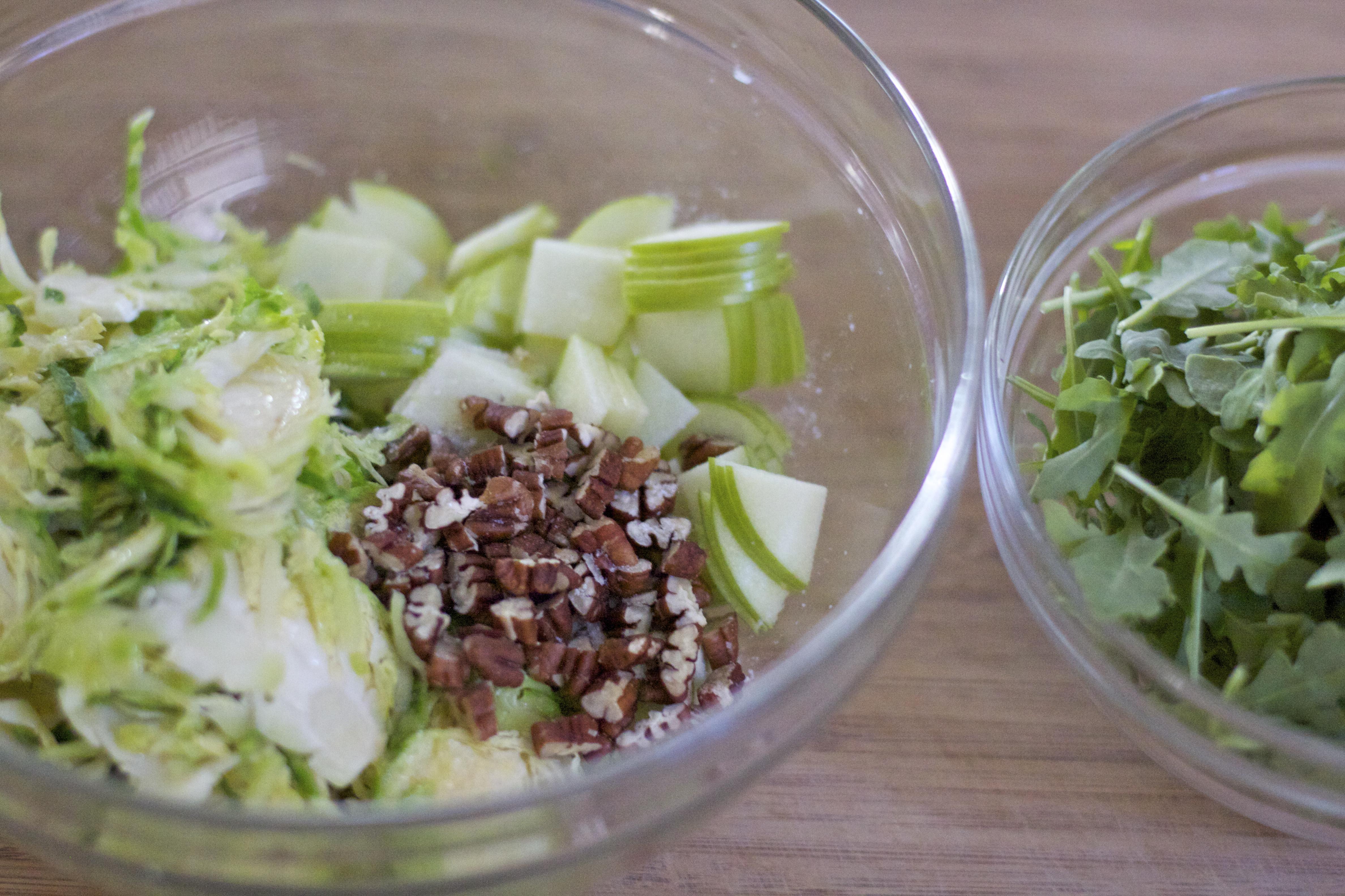Brussels Sprouts & Arugula Salad w/ Maple-Lemon Vinaigrette