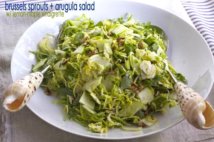 Brussels Sprouts & Arugula Salad w/ lemon-maple vinaigrette