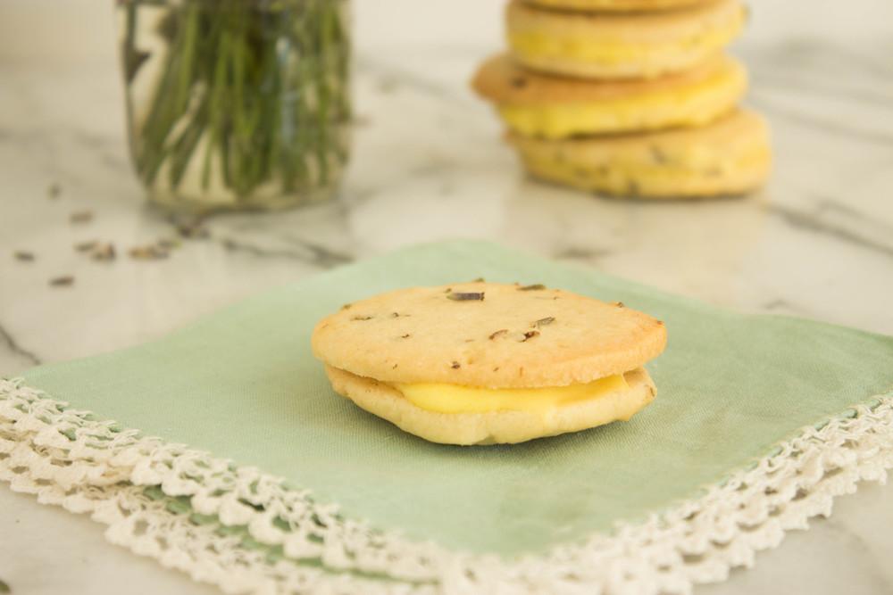 lavender mango shortbread sandwiches