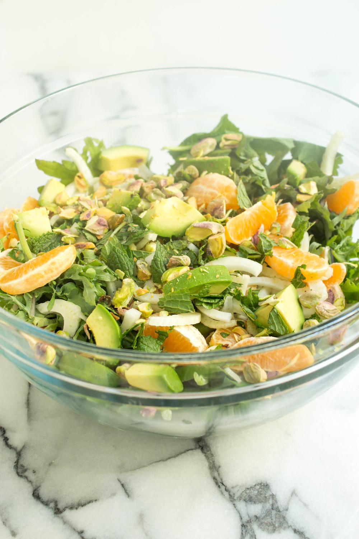 Baby Kale, Tangerine, Pistachio & Orange Blossom Salad
