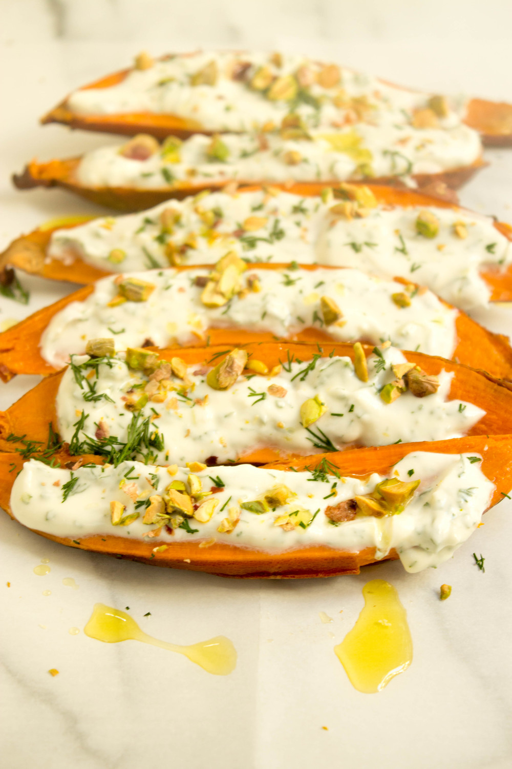 Sweet Potatoes w/ Mascarpone, Dill & Pistachios