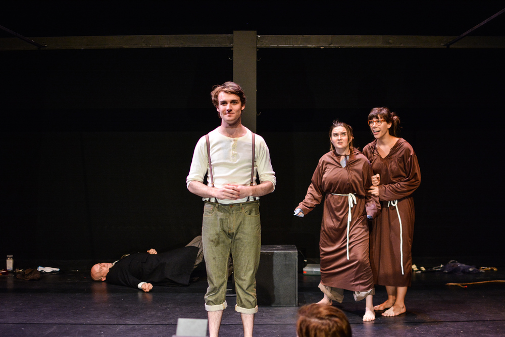 Kristina as Brother Vulgo with Sara Glancy and Ryan Ward in  Marvellous . Photo by Kelley Van Dilla.