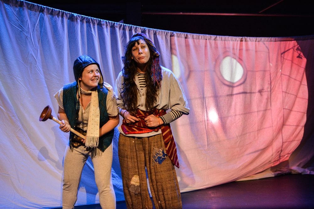 Kristina as pirate Scud Rowlock with Amalia Oswald as Poop Jones in  Marvellous . Photo by Kelley Van Dilla.