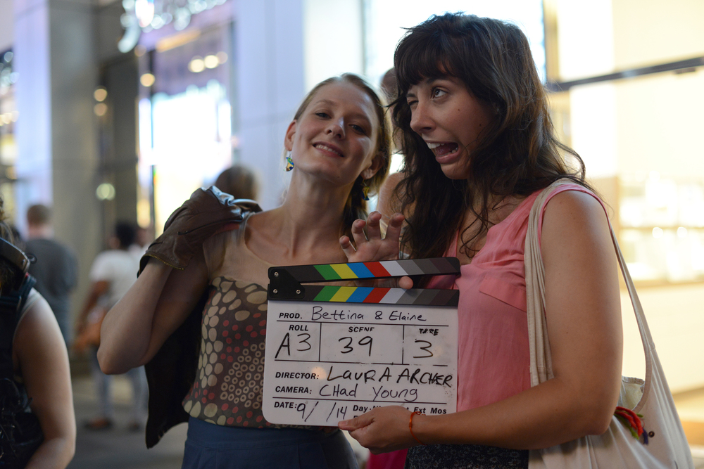 Kristina with her co-producer, co-writer and co-star on the set of   BE Bettina & Elaine  . Photo by Allison Stock.
