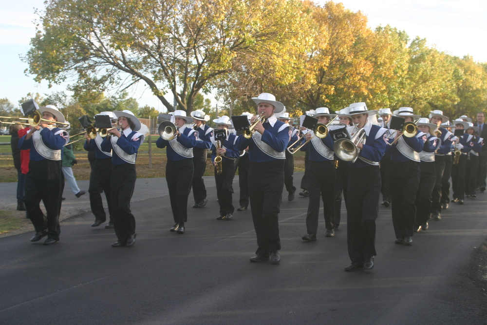 The KIHS Marching Band in the 2012 Homecoming Parade.