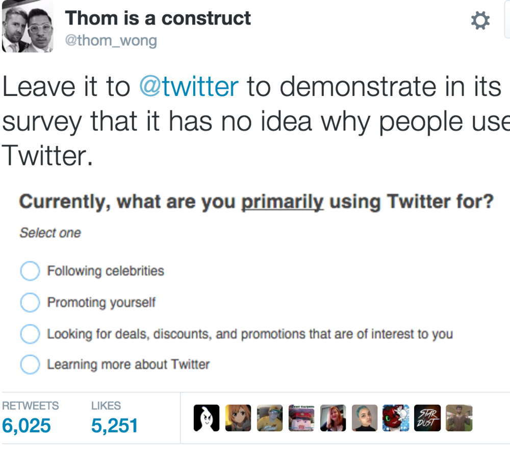 """""""Casual public networking"""", Twitter's core use case for someone who is not a brand or a celebrity, is not listed by Twitter as a reason to use Twitter."""