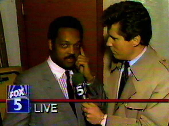 Interviewing The Rev. Jesse Jackson, 1988.