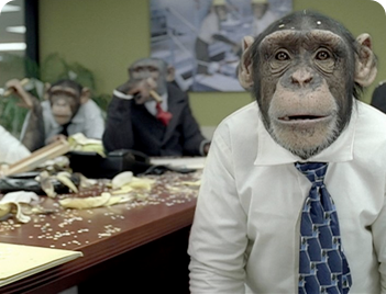 "Goodbye Mr. Chimps?  This year's Super Bowl commercials are said to herald a ""return to storytelling.""  Simians in office attire for a 2011 careerbuilder.com ad, featured on the Super Bowl.    Courtesy The Los Angeles Times."