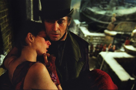 Anne Hathaway and Hugh Jackman in the 2012 film version of Les Miserables.  Courtesy Universal Pictures.