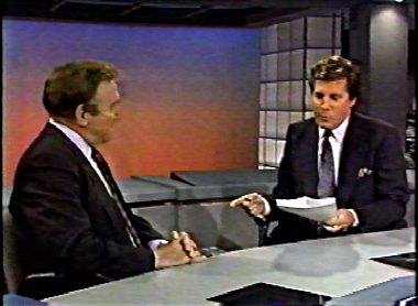 Bill Mazer (left) with Steve Dunlop on the Challenge Round on New York's Ten O'Clock News, 1990. Image courtesy WNYW-TV.