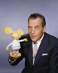 "Sullivan with Topo Gigio, the ""little Italian Mouse,"" a character that was a regular on the program in the 1960's."
