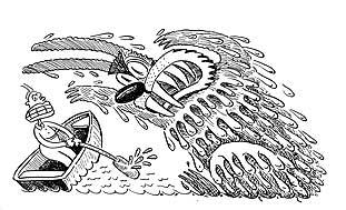 "A 1979 cartoon caricatures President Jimmy Carter fending off a ""killer rabbit."" Image via wnyc.org."