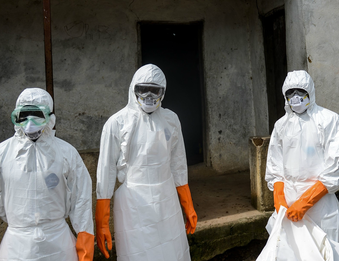 Health care workers in Liberia wearing protective gear. Courtesy NPR/WNYC's  On The Media .