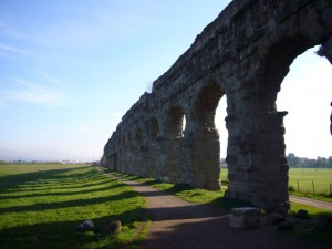 A surviving section of the Aqua Appia, an aqueduct built by Appius Claudius Caecus, east of Rome.  Circa 312 BC.