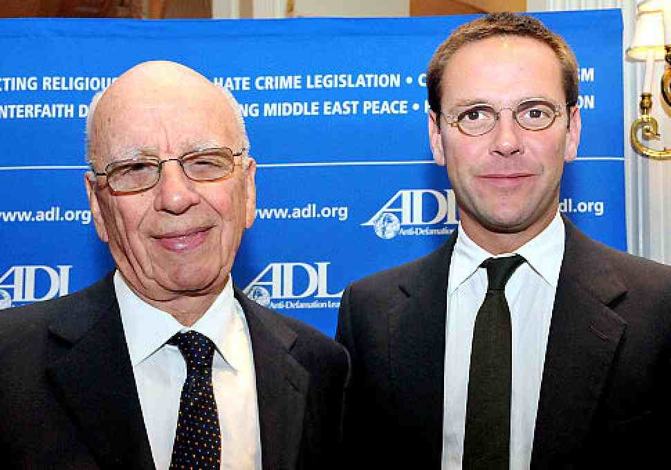 Rupert and James Murdoch at an Anti-Defamation League conference.  Courtesy The Gateway Pundit.