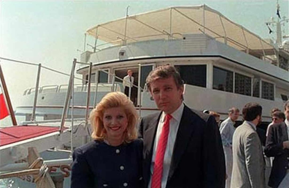 Donald Trump and his then-wife, Ivana, aboard their new yacht, 1988.  Courtesy AP via CBS News.