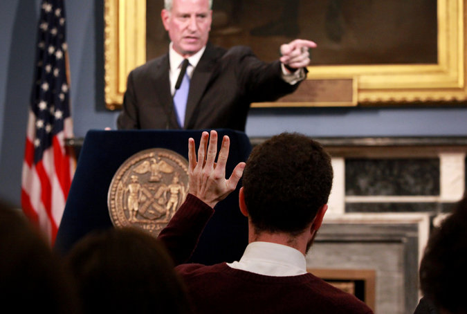 New York mayor Bill DiBlasio taking questions from reporters in the Blue Room at City Hall.  Photo by Yana Paskova for The New York Times.