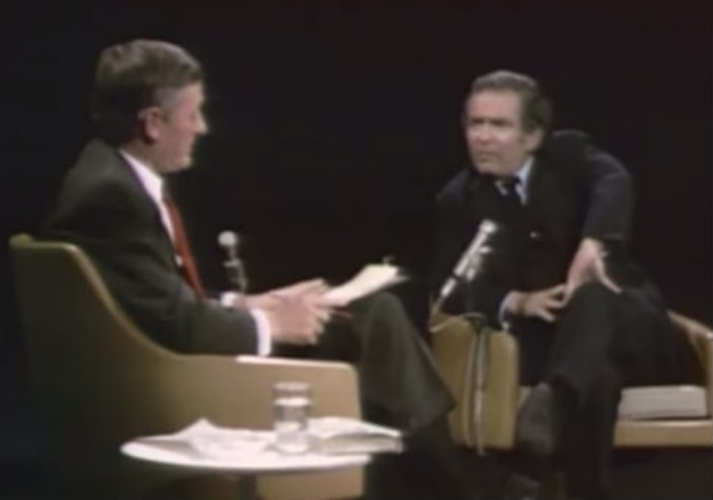 William F. Buckley Jr. and Norman Mailer on Buckley's PBS public affairs program, Firing Line, 1968.  Screenshot by Washington Free Beacon.