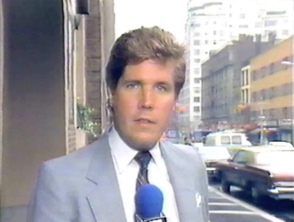 Steve Dunlop outside Elie Wiesel's Manhattan office, October 14, 1986.  Courtesy  WNYW .