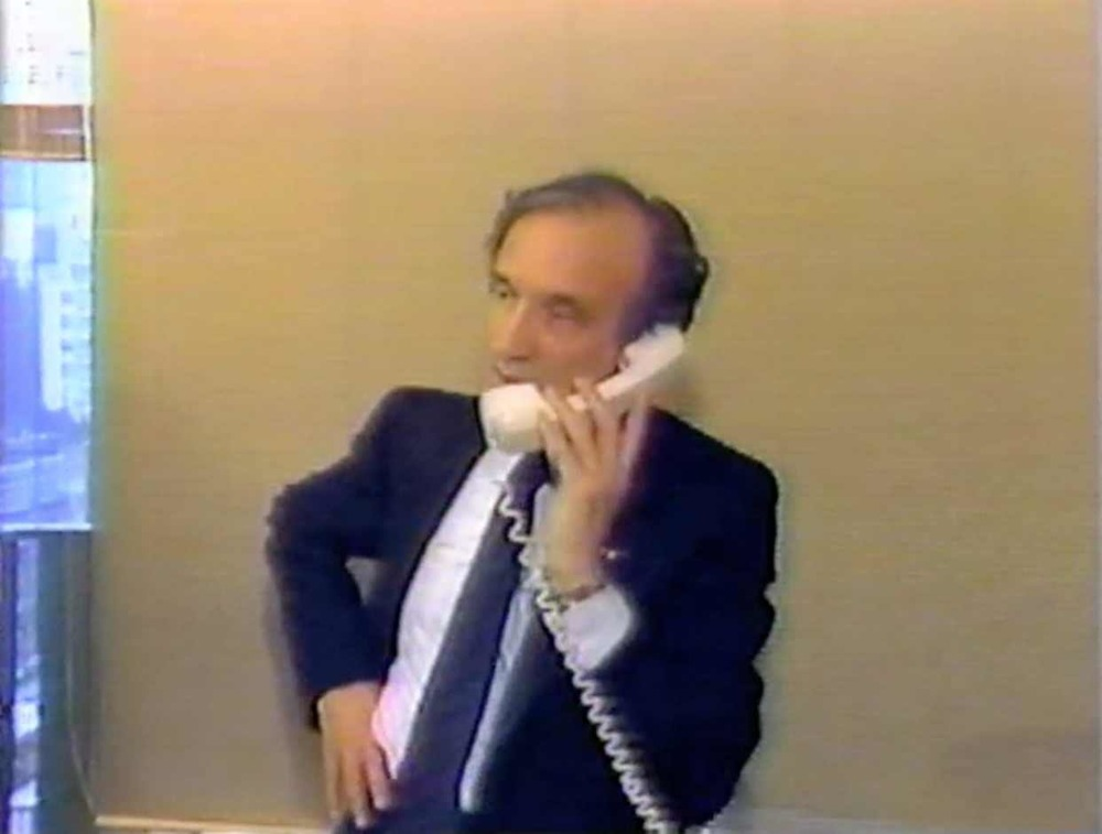 Elie Wiesel accepting calls of congratulation in his office after winning the Nobel Peace Prize, October 14, 1986.  Courtesy Fox Television/WNYW.