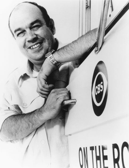 Charles Kuralt, circa 1970, astride his trusty Winnebago.  Courtesy  CBS News .
