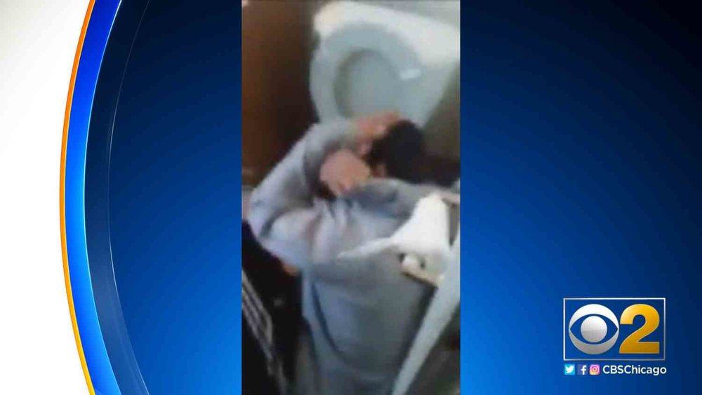 A still frame from the video that the Chicago teenager's abductors streamed live.  Via  WBBM-TV .