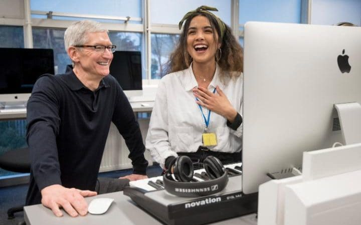 Apple CEO Tim Cook visiting the Brit School for Performing Arts and Technology.  Photo and full article at  The Daily Telegraph .