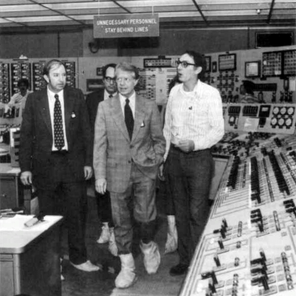 Harold Denton (left) tours the Three Mile Island facility with President Jimmy Carter, April 1979.  Public domain photo courtesy  Wikipedia .
