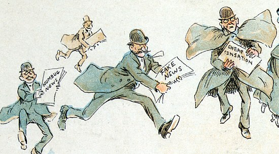 An 1894 newspaper illustration depicting various forms of fabricated news. Courtesy Wikimedia Commons.