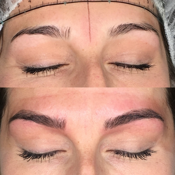 Before and after microblading on my client with an Everlasting Brows 11 point needle tip
