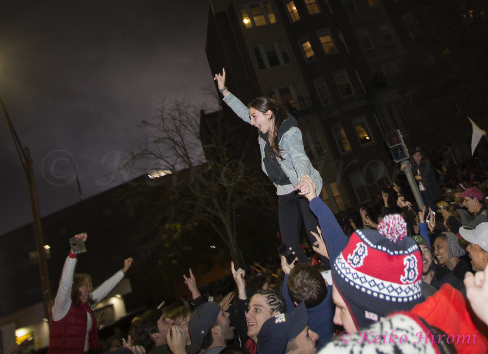 October 30 2013, Boston, MA USA; Fans celebrate the Red Sox victory over the St Louis Cardinals to win the World Series near Fenway park in Boston, MA.