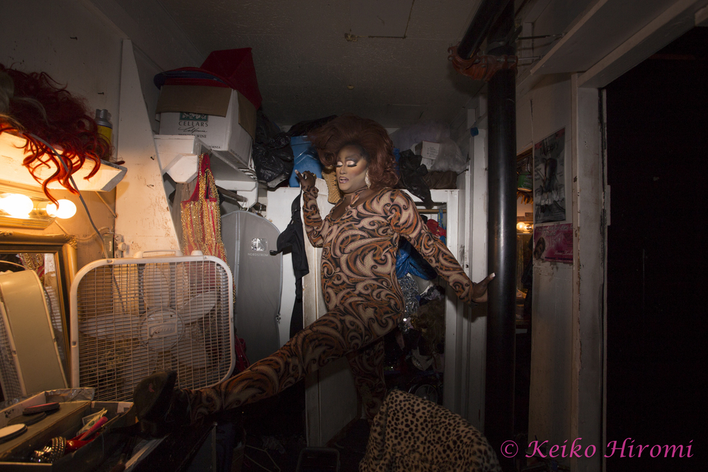 Mizery streching before going onto the stage at Jacques Cabaret in Boston, MA on November 16, 2013.