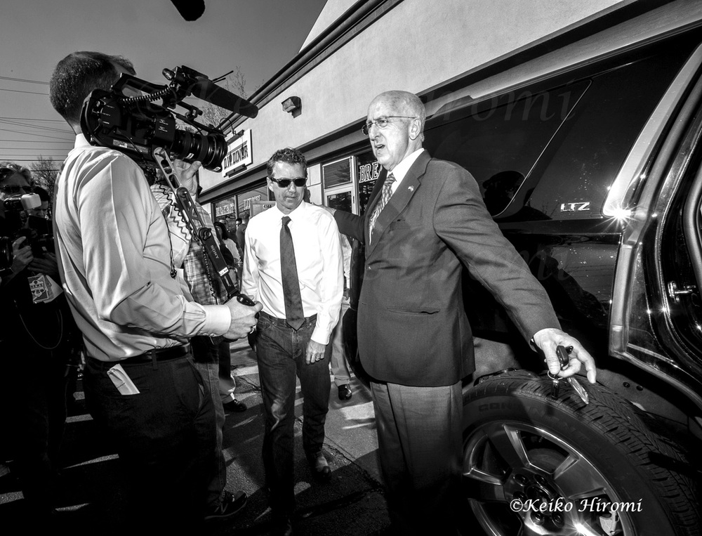Senator (R-KY) Rand Paul, Republican Presidential candidate, getting in his car after campaigning at D.W diner in Merrimack, NH on April 18, 2015.