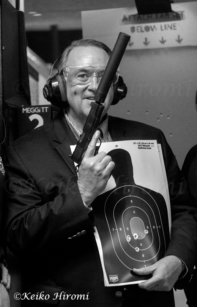 Mike Huckabee, former Governor of Arkansas, Republican Presidential candidate, campaigning at Granite State Gun Range in Hudson, NH on April 18, 2015.  Huckabee announced his run for President on May 5, 2015.