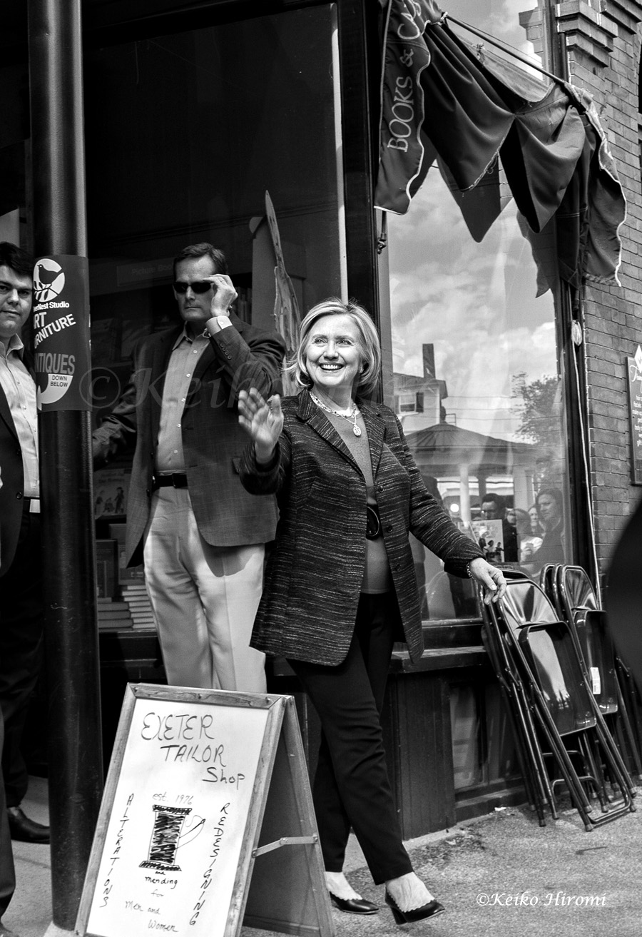 May 22, 2015, Exeter, NH, USA:  Hillary Clintons greets supporters outside of Water Street Bookstore at downtown Exeter, NH.