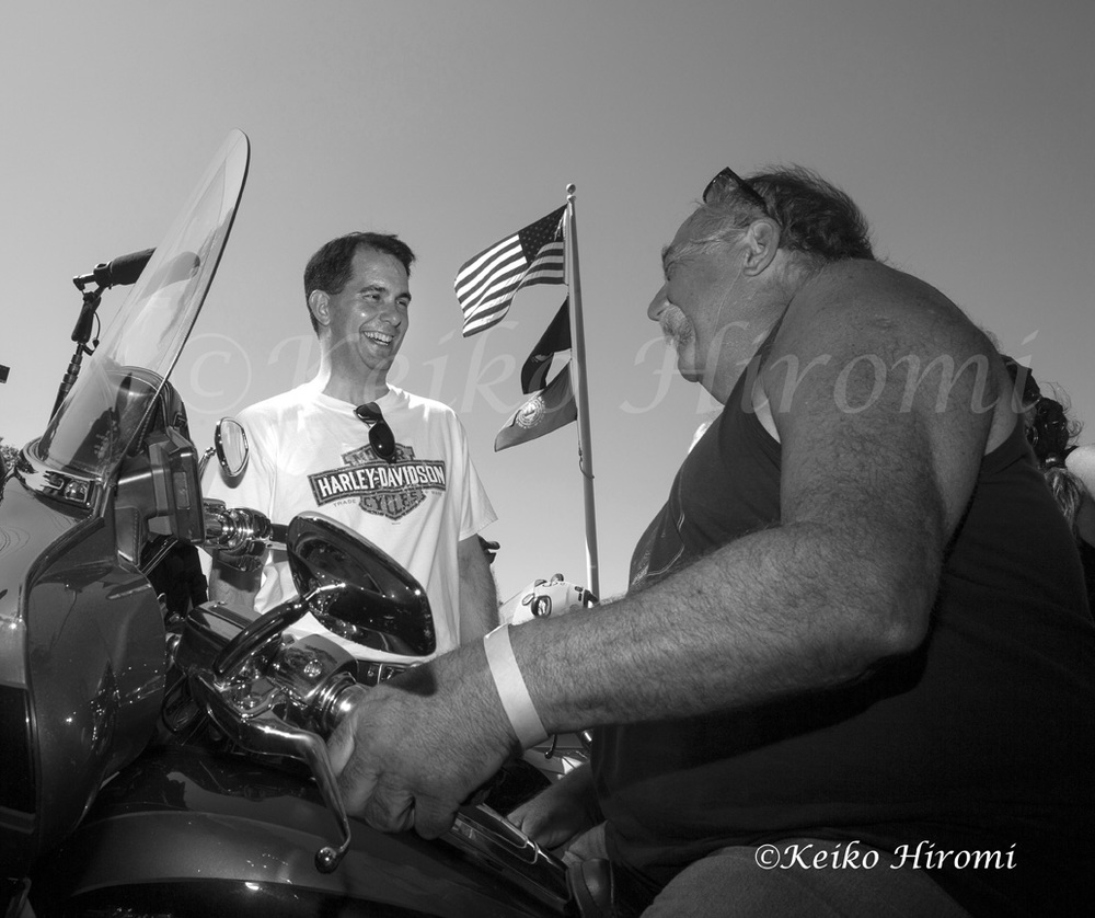 September 6, 2015, Milford, NH, USA: Republican presidential candidate and Wisconsin Gov. Scott Walker campaigning during Labor Day Weekend Harley Ride at Milford, NH.