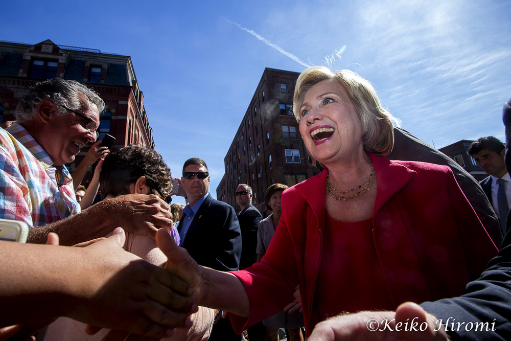 September 5, 2015, Portsmouth, NH USA: Hillary Clinton Democratic Presidential candidate greets people on streets in Portsmouth, NH