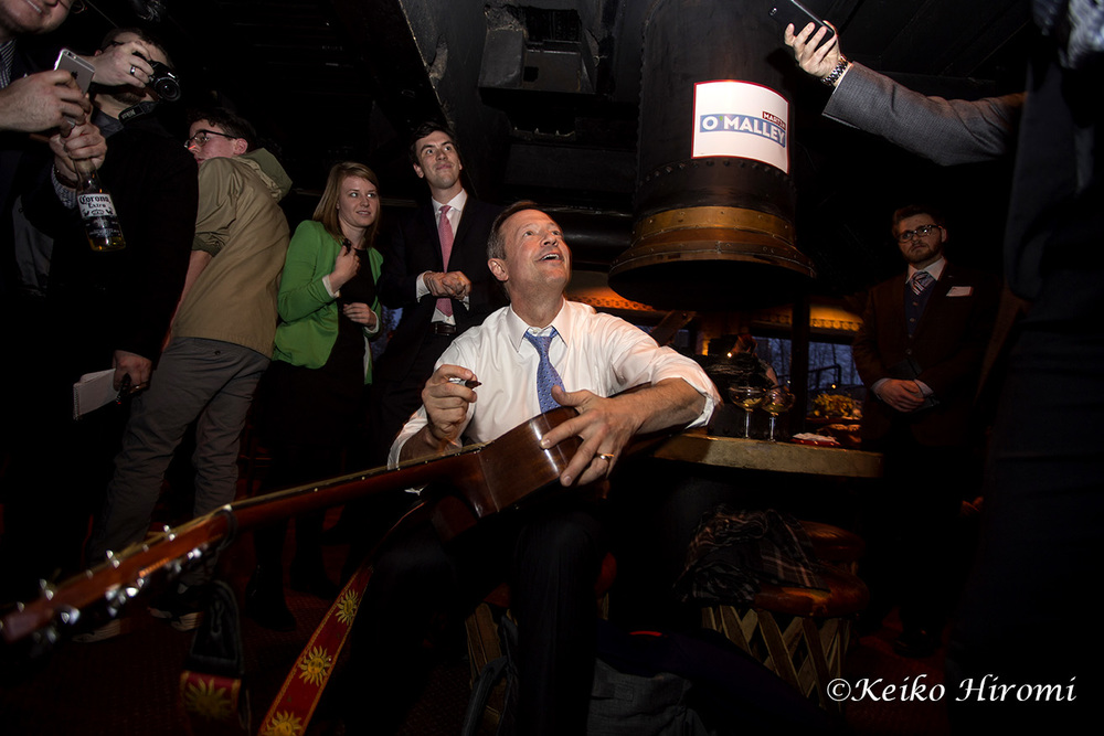March 31, 2015: Nashua NH, USA: Former Maryland Governor Martin O'Malley campaigning at New Hampshire Young Democrats social hour at the Margaritas basement lounge in Nashua, NH.
