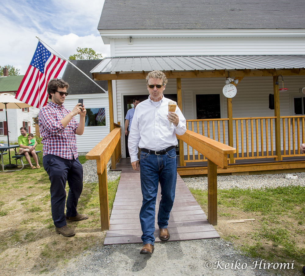 July 25, 2015 Warren, NH USA:  Republican Presidential candidate Rand Paul  (R-KY) campaigning at Moose Scoops Ice Cream in Warren, NH.