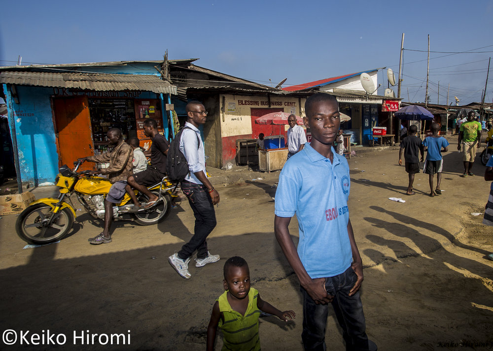 West Point youth outreach worker during Ebola crisis at West Point neighborhood of Monrovia, Liberia.