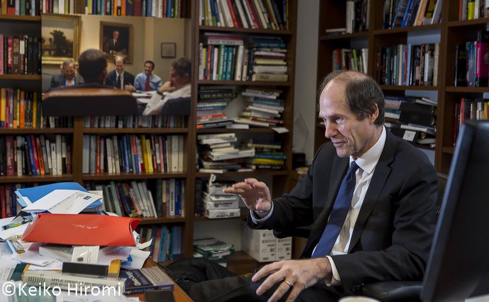 Professor Cass Sunstein, Robert Walmsley University professor at Harvard Law School photographed at his office at Harvard Law School in Cambridge, Massachusetts.